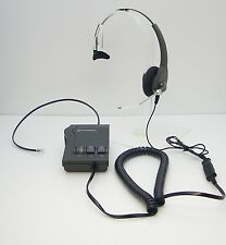Plantronics H91 Encore Mono Voice Tube Headset + Vista M12 Amplifier - Tested OK