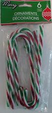 "New 6"" Plastic Candy Canes Christmas Tree Ornament Acrylic~ 6 Green Red & White"