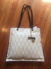 NWT Belle Badgley Mischka Creme Leather Hand Bag Tote Purse Retail  $268