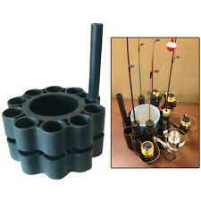 Ice Fishing Rod Retainer Holder Carrier - Holds up to 9 Poles, Jig Sticks + Bait