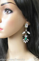 Silver Black Green Big Long Statement Celebrity Vintage Earrings Leaves Gold O20