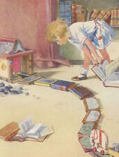 Postcard: Vintage repro print - Girl Plays w/ books, Builds Roads and Arches