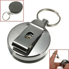 Trendy Retractable Card Badge Holder Steel Recoil Ring Belt Clip Pull Key Chain