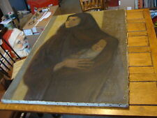 "large 32 x 46"" Antique modern painting Jean-Claude Guignebert WOMAN & BABY"
