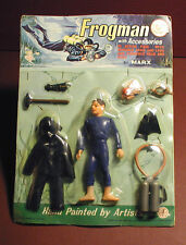 "Vintage 1960s Louis MARX 6"" FROGMAN Action Figure Set Sealed on Original Card"