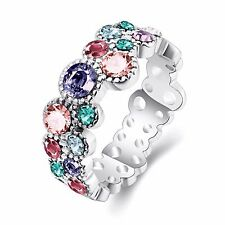 White Gold Plated Blue Pink Purple Zircons engagement ring 17.5 mm size O FR213