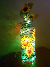 Sunflowers Inspiered Wine Bottle Lamp Hand Painted Lighted Stained Glass look