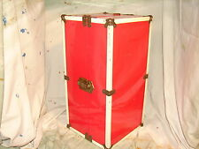 Vintage Red Metal Doll Suitcase Trunk