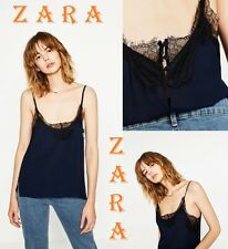 ZARA Navy Blue Camisole Contrast Black Lace Strappy Top New Tank (TR$55) Size L