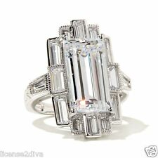 STERLING SILVER & DIAMOND SIMULANT ART DECO VINTAGE STYLE MOVIE STAR RING! NEW!