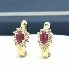 18k Yellow Gold Natural Ruby And Diamond Earrings Halo Cocktail July Birthstone