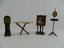 Dollhouse Miniature Furniture Lot Of 4 Dark Wood Wash Stand Shaving Stand Clock