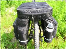 Black Cycling Bike Bicycle Rear Rack Seat Pannier Bag Waterproof + Rain Cover