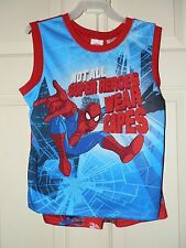 NEW Spiderman 2 piece boys pajama set tank and shorts red size 10/12