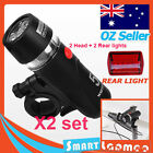 2x Set Bike Bicycle Front LED Torch Rear Cycling Flashlight Waterproof Light AU