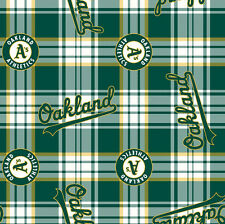 Oakland Athletics A's Plaid MLB Baseball Print Fleece Fabric by the Yard s6625bf