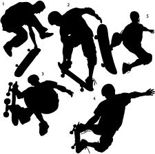 SKATERS Skateboard Set of 5 Vinyl Wall Decals Boys Room Sports Decor