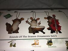 "Charming Tails ""SOUNDS OF THE SEASON"" DEAN GRIFF NIB  3 CHRISTMAS ORNAMENTS"
