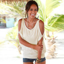 Plus Size Womens Cut Out Sleeve Cold Shoulder Blouse T-Shirt Loose Tops UK 6-16