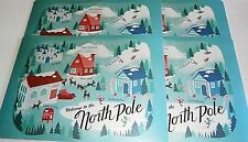 """CHRISTMAS Placemats 18"""" x 13"""" WELCOME TO THE NORTH POLE  Set of 4"""