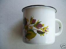 Antique Rare Enamel Coffee Tea Mug Cup With Hand Painted Floral Decoration