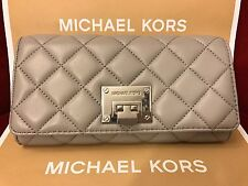 NWT MICHAEL KORS SOFT QUILTED LEATHER ASTRID CARRYALL WALLET IN PEARL GREY