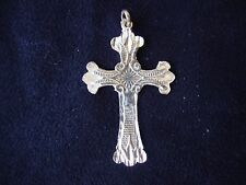 VINTAGE STERLING SILVER STAMPED 925 PRAYER BOOK CROSS DANGLE PENDANT 1970s