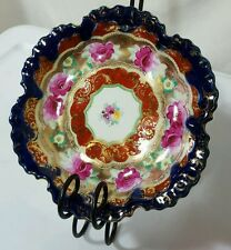 Antique Flow Blue Candy Nut Trinket Dish Footed Bowl Hand-Painted Gorld Trim