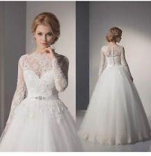 UK White/ivory Lace Long Sleeve Wedding Dress Bridal Gown Custom Made Size 6-16