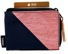 RFID Fossil Womens Wallet  Coin Purse Pink n Navy Silhouette L-Zip Pouch
