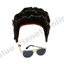 MENS 1950S ROCK N ROLL BLACK WIG & GOLD SUNGLASSES FANCY DRESS COSTUME ACCESSORY