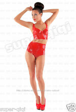 Latex Rubber 0.45mm Underwear suit catsuit outfits sexy Bra Sets Red Color