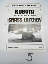Kubota GC54B GC60B Grass Catcher Operator's Manual Owner's