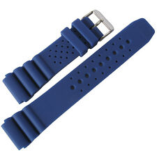 22mm deBeer 911 Mens Royal Blue Silicone Rubber Dive Watch Band Strap
