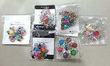 6 Pc MULTI COLOR Vintage Style Lot Brooches Pins Wedding Bouquet