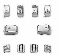 "CHROME REPLACEMENT SWITCH CAP BUTTON KIT FOR 1996-2013 HARLEY TOURING ""NOT FADE"""