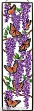 VIOLET WISTERIA AND BUTTERFLIES MONARCH BUTTERFLY 9x40 ART GLASS WINDOW PANEL