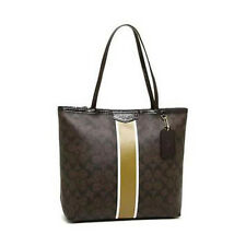 Coach Bag F32857 Signature Metallic Stripe Tote Brown Gold Agsbeagle #COD Paypal