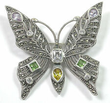 MARCASITE BUTTERFLY STERLING SILVER PIN/BROOCH WITH CUBIC ZIRCONIA