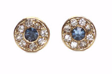 VITA VINTAGE GOLD ART DECO STYLE WHITE & BLUE DIAMANTÉ STUD EARRINGS (ZX54)