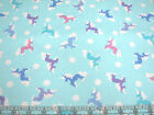 3 Yards Quilt Cotton Fabric - Timeless Treasures Gliltter Unicorns Snowflakes Bl