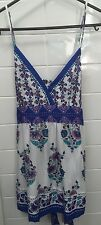 Target Hot Options Size 12 White Blue Casual Floral Singlet Top EUC Hippy Boho