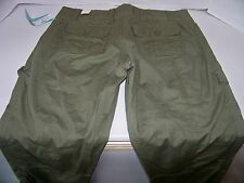 NWT Womens Size 5/6 Maurices Olive Green Convertible Cargo Pants/Capri's