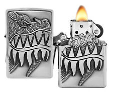 Zippo Lighter 28969 Dragon Design Brushed Chrome Finish Windproof Pocket New