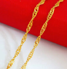 18K YELLOW GOLD PLATED WAVE CHAIN NECKLACE 44CMS