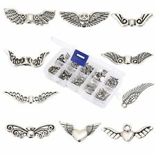 HYBEADS 100Pcs Assorted 10 Styles Tibetan Silver Angel Wing Spacer Charm Beads