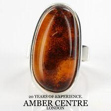 Intricate Arancione & COGNAC BALTIC AMBER ANELLO IN ARGENTO 925 RRP £ 120!! - wr145-Dimensioni: P
