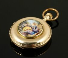 Antique French 14K Gold Pocket Watch with Guilloche Enamel Scene. Outstanding!!!