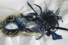 BLUE BLACK & GOLD VENETIAN MASQUERADE CARNIVAL PARTY MASK WITH FLOWER & FEATHERS