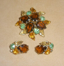 D&E Juliana Flower Pin & Earring Set w/ Brown, Green, & Yellow Open Set Stones